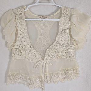 Ivory Crochet & Lace Sheer Crop boho vest/blouse
